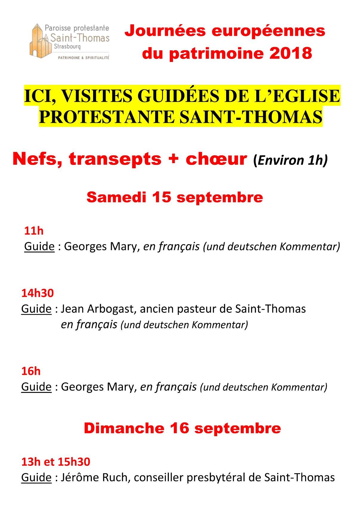 Journées du Patrimoine 2018 : visite de l'église Saint-Thomas à Strasbourg